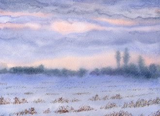Watercolor landscape. Sunset over the winter steppe