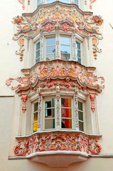 windows of medieval buildings in Old Town, Innsbruck, Austria