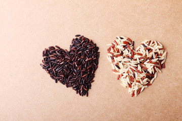 brown rice in heart figure, healthy concept