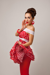 Happy Woman Posing in studio, surprised emotion. Pin-up retro