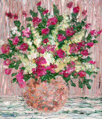 Oil painting. A lush bouquet of fresh flowers