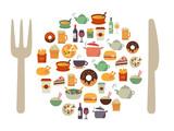 Fototapety Food Icons Background