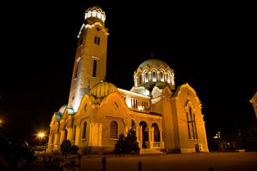 Night view of cathedral  in Veliko Tarnovo, Bulgaria