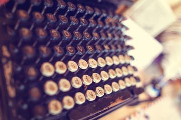 Antique Typewriter. Vintage Typewriter Machine Closeup