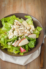 salad with apples, walnuts and cheese