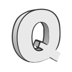 Retro 3d Alphabet Q Text Vector