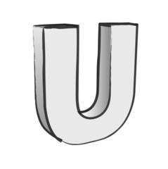 Retro 3d Alphabet U Text Vector