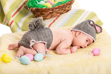 Newborn baby girl in bunny costume