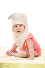 Little baby girl with bunny hat