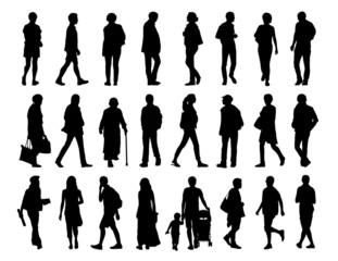 big set of people walking silhouettes set 2