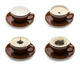kaffeetasses mit tropfen set collage