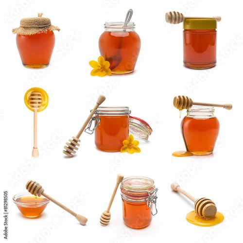 Bienen Honig mit honiglöffel set collage