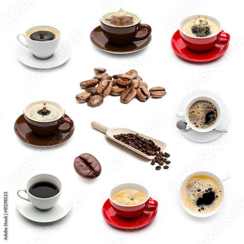 Kaffeetassen und kaffeebohnen set sammlung