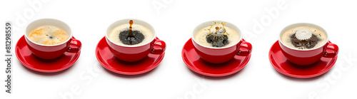 Zdjęcia na płótnie, fototapety, obrazy : Kaffeetasse tropfen mit milch set collage