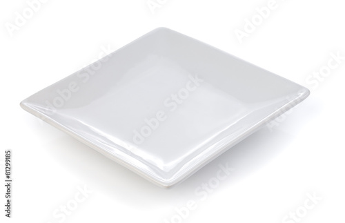 empty white plate on a white background - 81299185