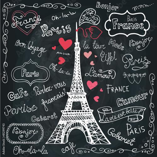 Set of Paris symbols,lettering.Hand drawn doodle sketchy.Chalkbo - 81299743