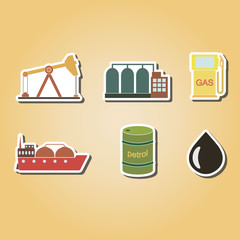 set of color icons with oil and petroleum theme
