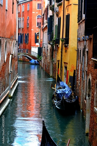 Venetian canal in rainy day