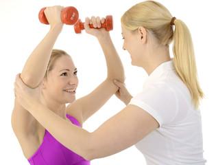 Physiotherapie mit Hanteln und Gewichten