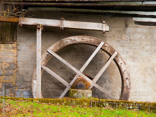 Leinwanddruck Bild Old mill water wheel