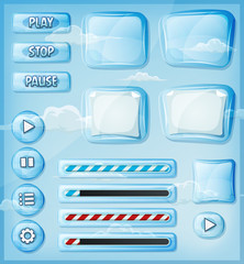 Glass Transparent Icons Set For Ui Game