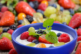 Naturjoghurt mit frischen Früchten