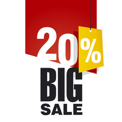 Big Sale 20 percent off red background