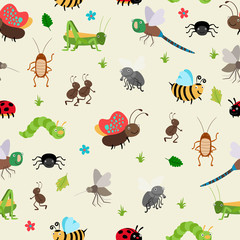 Bugs and Beetles seamless background
