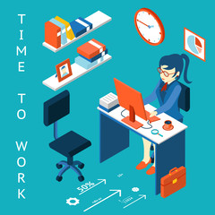 Time to work concept. Business corporate process infographic