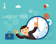 Time management. Lack of time concept. Businessman and clock