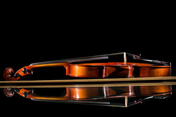 Isolated violin on black background