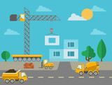 Construction process with construction machines and erected poster