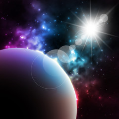 Photorealistic Galaxy background with planet and shining sun