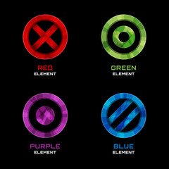 Circle, cross and dot logo design elements