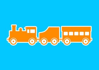 Orange train icon on blue background