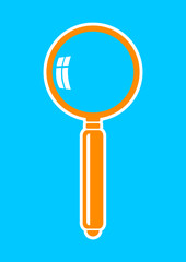 Orange magnifier icon on blue background