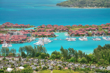 Luxury residency and marina in Eden island, Seychelles.