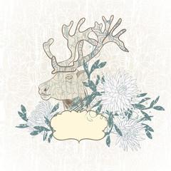 Deer, flowers.