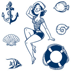 Vector sea icon set. Set of nautical design elements
