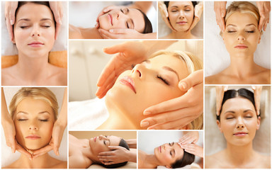 women having facial treatment in spa salon