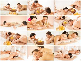 happy family couple in spa salon