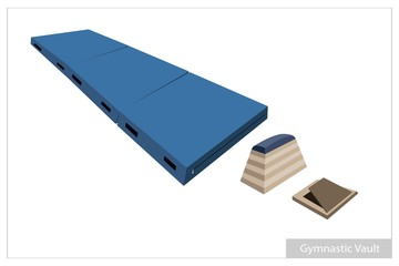 Artistic Gymnastic Vault Equipments on White Background