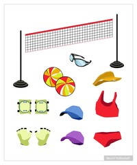 Set of Beach Volleyball Equipment on White Background