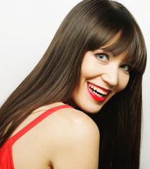 beautiful woman with big happy smile