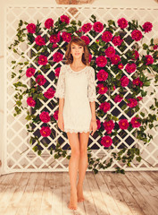 tender girl in lace dress standing in the room