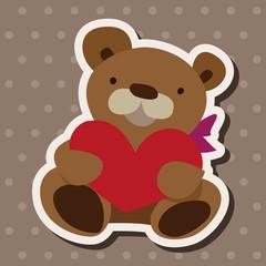 Valentine's day present bear flat icon elements background,eps10