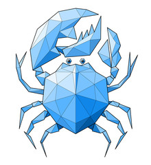 Crab. Low polygon linear vector illustration