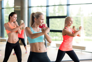 group of women working out in gym