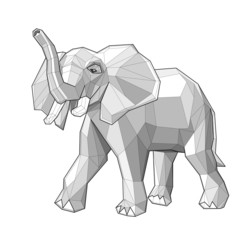 Elephant. Low polygon linear vector illustration