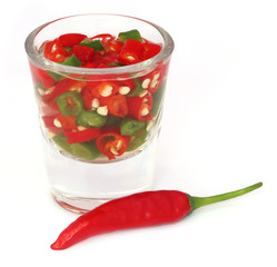 Chili peppers in a transparent glass